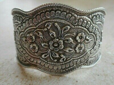 Wide Oxidized Sterling Silver Repousse Floral Cuff Bracelet 46B1