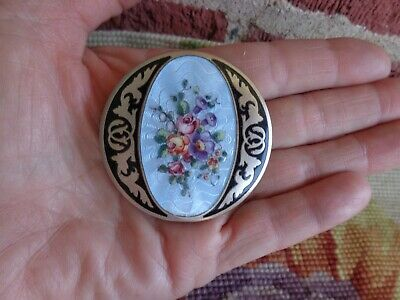 Vintage Floral Roses Enamel Guilloche Compact Old Estate Stunning