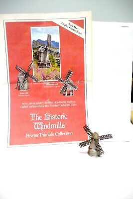 """Thimble Pewter Tcc's The Historic Windmills Collection """"90 """"England"""""""