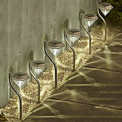 6 x Stainless Steel White LED Solar Diamond Stake Lights Garden Border Lanterns