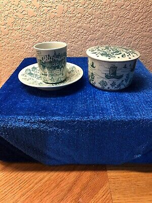 Limited Edition Danish Nymolle Hoyrup Art Faience Cup & Saucer,Covered Trinket