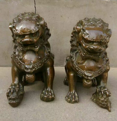China bronze Door Fengshui Guardion Foo Fu Dog Lion Statue Pair