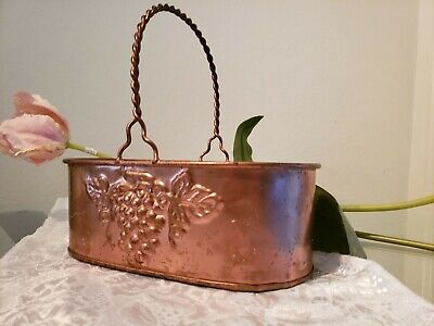 Jardiniere Oval Footed Grape Embossed/Vintage Brass Planter Metal Planter Bowl