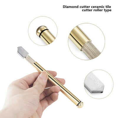 Diamond Cutting Tool Tip Antislip Metal Handle Steel Blade Oil Feed Glass Cutter