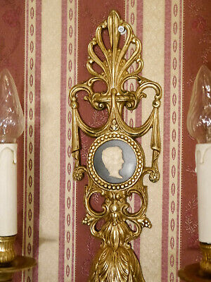 empire brass french old 2 lights pair fine wall lamps sconces chandeliers decor