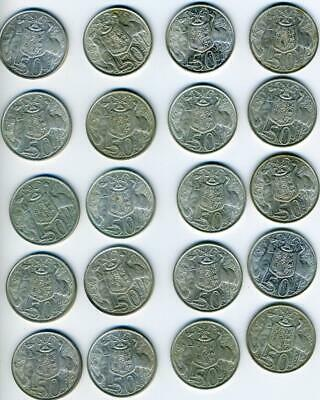 20 Australian 1966 Round Silver Fifty Cent Coins - FREE POST in AUSTRALIA!