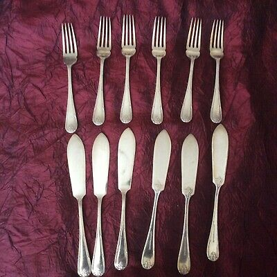 Silver Plated 12 Piece Cutlery Set 6 Fish Forks & 6 Fish Knives Mappin & Webb
