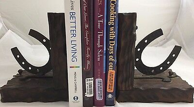Vintage wrought iron horseshoe corner bracket Wood Bookends