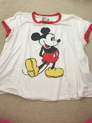94390b83 Classic Mickey Mouse Ringer Tee White Red Forever 21 Plus Size XL Disney