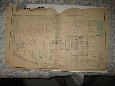 Set Of 2 Vintage Antique 1876 Perth Amboy Middlesex County New Jersey Map Rare