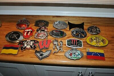 Huge Lot Of 19 Vintage Belt Buckles Rolling Stones, Skulls, Monster, CK And More