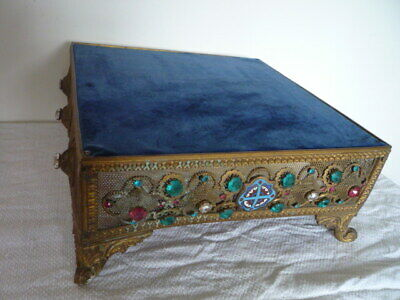 Exquisite Antique French Gilt Metal Jewelled Enamel Plaque Display Stand Plinth