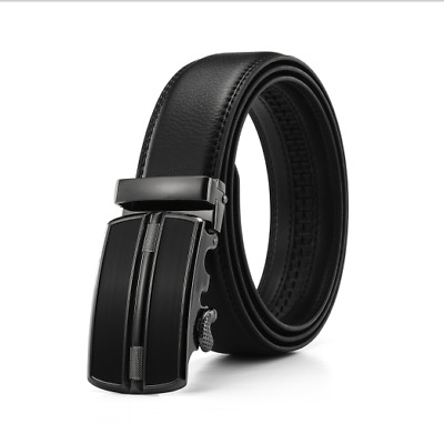 Mens Black Designer Leather Dress Belt Sliding Ratchet Automatic Buckle Holeless