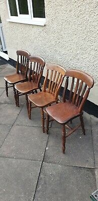 Set 4 Antique Victorian Elm Farmhouse Kitchen Dining Chairs Country Chairs