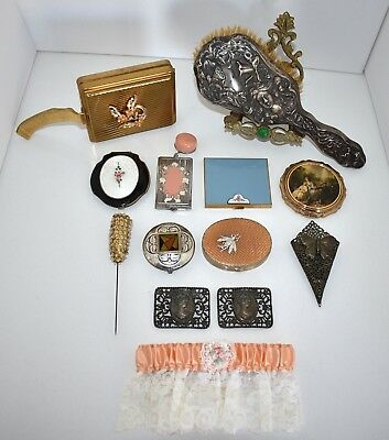 FABULOUS 13 PC Compacts/Vanity LOT ENAMEL GUILLOCHE Jewels STERLING HAIR BRUSH!