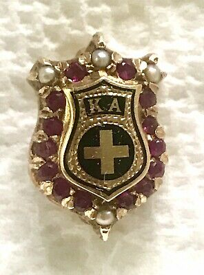 e5576c31 Rare Vintage Solid 14K Gold Kappa Alpha Fraternity Pin With Pearls And  Rubies