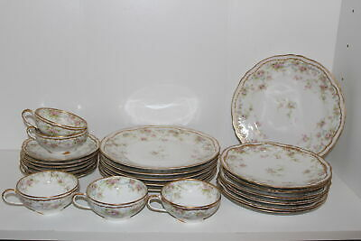 23 Pcs Antique Theodore Haviland Limoges China-Double Gold-Cups, Saucers, Plates