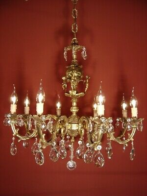 brass crystal cherubs chandelier old fixtures ceiling lamp 8 light lustre used