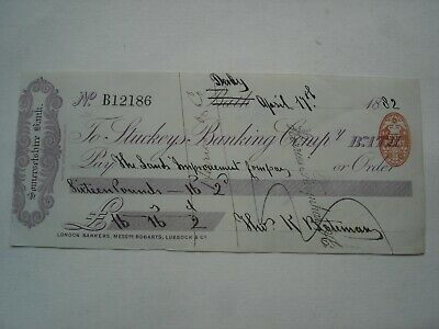 Antique STUCKEYS BANKING SOMERSETSHIRE BANK Cheque 1881 Land Improvement Compy