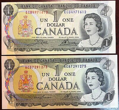 Lot of 2x Bank of Canada 1973 $1 One Dollar Bills - Mint Condition