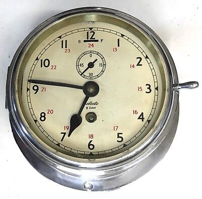 Ships Marine Style Bulkhead Bulk Head Chrome Cased Clock Celeste