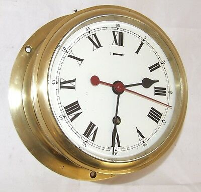 ENGLISH Ships Marine Style Bulkhead Brass Cased Wall Clock ENAMEL DIAL