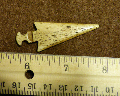 Vintage Bone Indian Arrowhead Hand Made Nice Patina