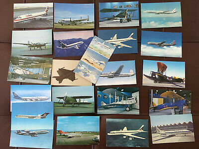 Lot of 22 Chrome Airplane Plane Postcards Airlines, Jets, Boeing, Delta, Olympic