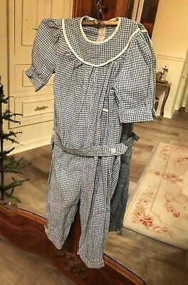 Wonderful Stunning Antique Early Blue Calico Check Kids Romper Primitive