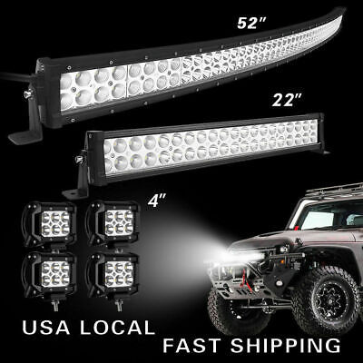"52Inch 2720W LED Light Bar Combo 22"" 4"" CUBE PODS OFFROAD SUV For Ford 52/20"""