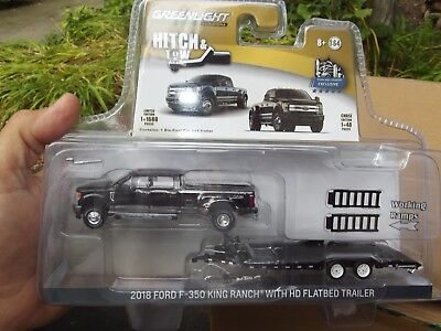 Greenlight hitch & tow 2018 Magma Red Ford f350 dually & HD Flatbed trailer NIB