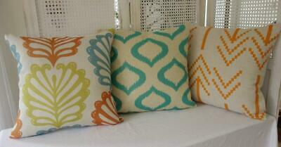 Mix & Match Teal Orange Green Contemporary Cushion Cover 45cm