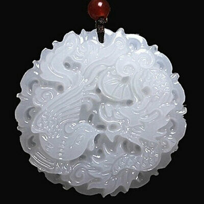 Chinese Natural White Jade Carved Dragon Phoenix Pendant Amulet Collectibles