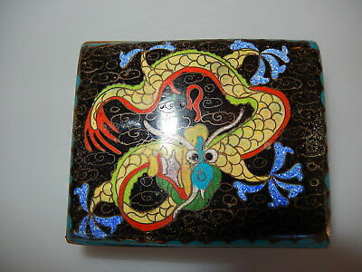 Chinese Qing Dynasty Cloisonne Footed Dragon Box