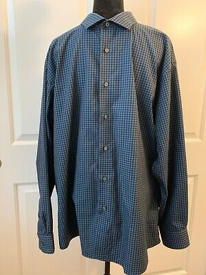 41a2ad74fd Kenneth Cole Awearness Dress Shirt 18 34/35 Blue/Black Checks Slim Fit Non