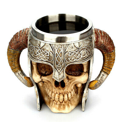 Stainless Steel Coffee Mug Resin Striking Warrior Tankard Viking 3D Skull Cup