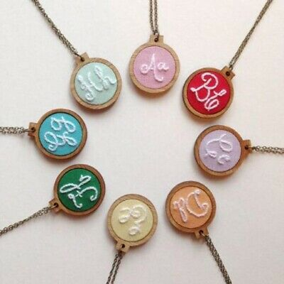 Hand Stitching Wooden Framing Cross-Stitch Frame Embroidery Hoop Necklace