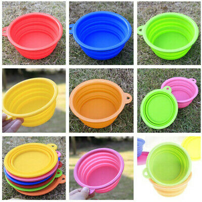 Hot Collapsible Silicone Cat Dog Pet Feeding Bowl Water Dish Feeder Portable