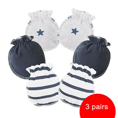 3Pairs Newborn Cotton Handguard Baby Gloves Anti Scratch Mittens Face Protection
