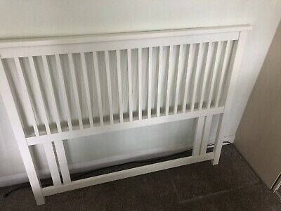 Solid Wood Headboard for Double Bed White Great Condition With Bed Fixings