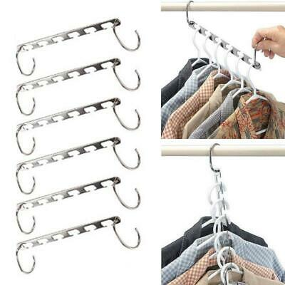 6 x Multi Function​​ Metal Magic Clothes Closet Hangers Space Saver Home Tool