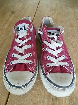 Classic CONVERSE ALL STAR Dark Red Canvas Low Top TRAINERS , Size 4