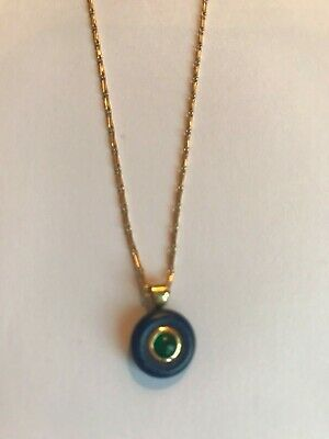 18Ct Yellow Gold Pendant And Chain Cabochon Natural Emerald And Lapis Lazuli