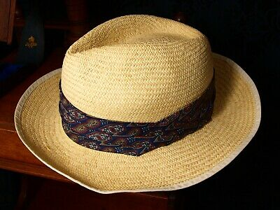 56 cm Mens Christys Genuine Panama Hat Paisley Band Sz Medium 56 approx