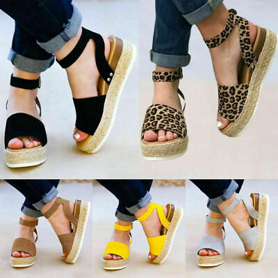 Donna Sandali Platform Sandals Espadrille Ankle Strap Comfy Casual Summer Shoes