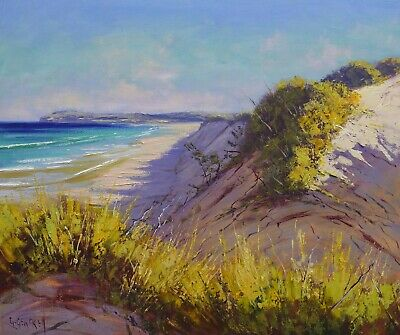 Beach Painting, beach dunes, sand dunes, Original oil painting, beach scene