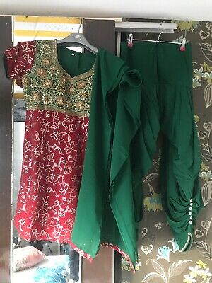 Deep Red & Green Punjabi 3 Piece Padded Bust Baggy Shalwar Suit Fit UK10-12 -New