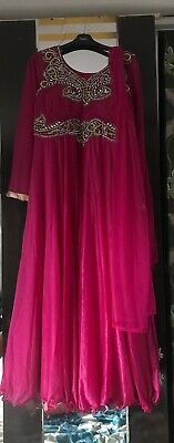 Gorgeous Hot Pink Shimmer 2 Piece Maxi Style Dress Party Wedding Eid Wear Size44