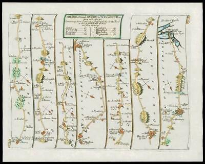 1719 - Antique Road Map LONDON TO WEYMOUTH Dorset Hampshire Wilts by Senex (02)