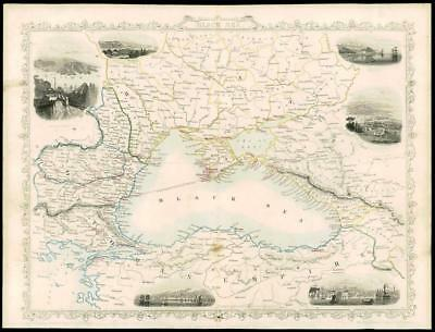 "1850 Antique Map of ""BLACK SEA"" RUSSIA TURKEY BULGARIA CRIMEA by Tallis (51d)"